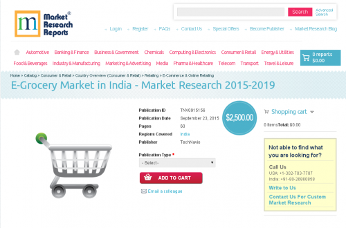 E-Grocery Market in India - Market Research 2015-2019'