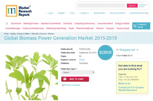 Global Biomass Power Generation Market 2015-2019'