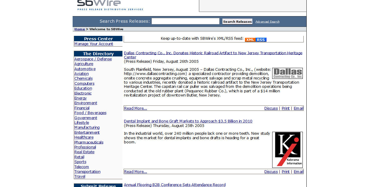 SBWire/ReleaseWire in 2005