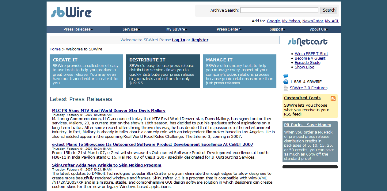 SBWire/ReleaseWire in 2007