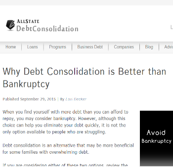 Learn which is better: debt consolidation or bankruptcy