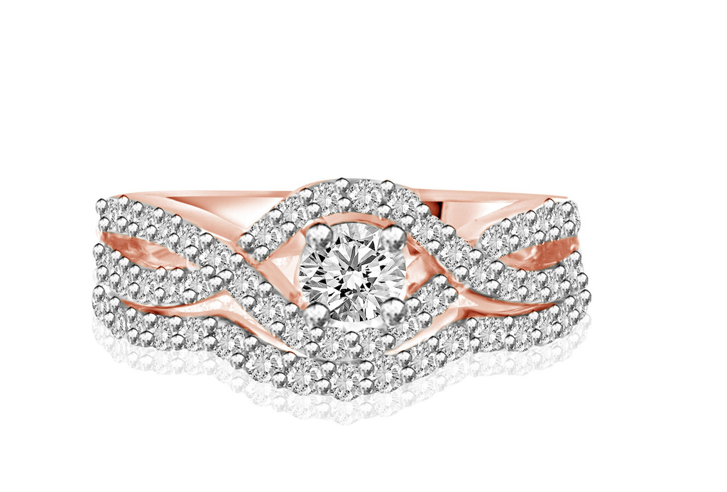 14K Rose Gold Intertwined Engagement Ring