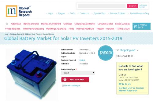 Global Battery Market for Solar PV Inverters 2015-2019'