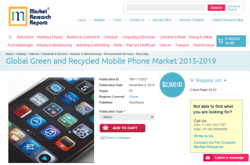 Global Green and Recycled Mobile Phone Market 2015-2019'
