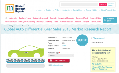 Global Auto Differential Gear Sales 2015'