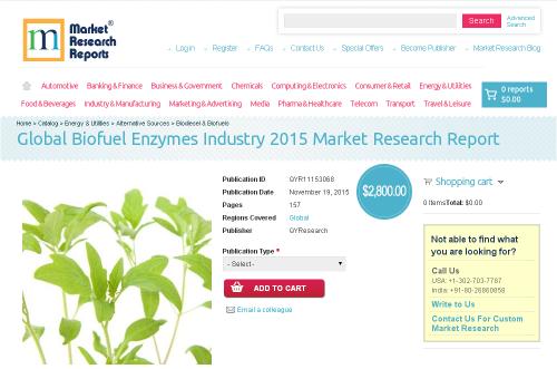 Global Biofuel Enzymes Industry 2015'