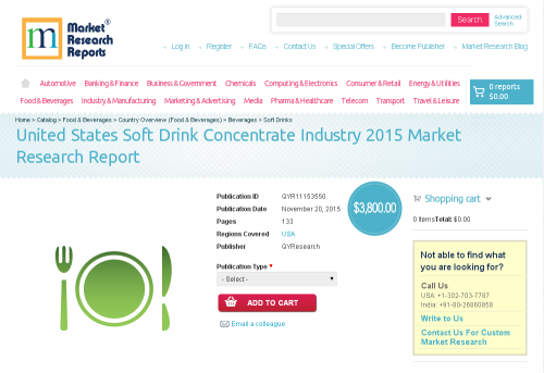 United States Soft Drink Concentrate Industry 2015'