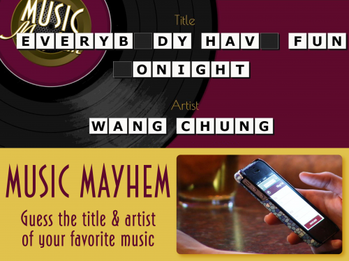 Music Mayhem is a fast-paced interactive game.'
