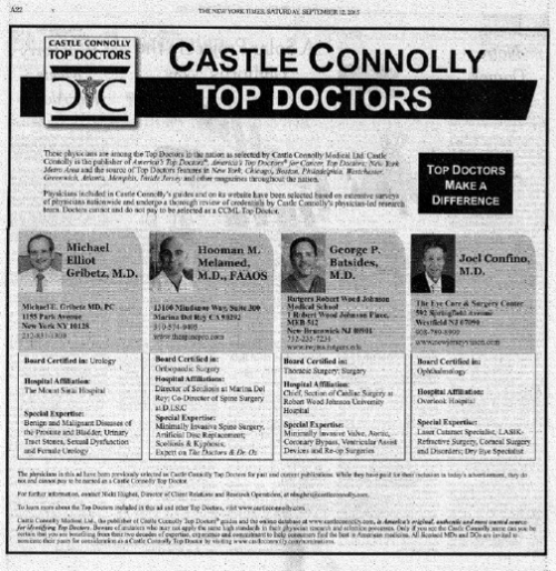 Castle Connolly Top Doctor Hooman Melamed'
