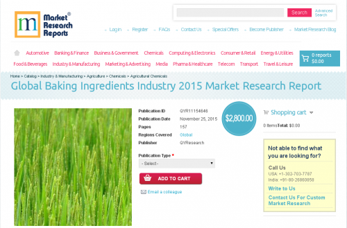 Global Baking Ingredients Industry 2015'