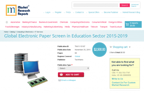 Global Electronic Paper Screen in Education Sector 2015-2019'