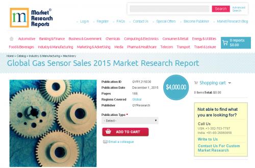 Global Gas Sensor Sales 2015'