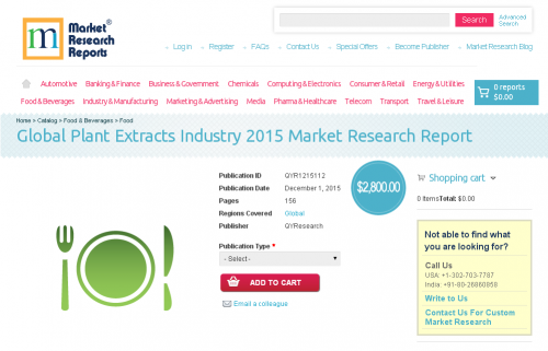 Global Plant Extracts Industry 2015'