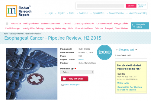 Esophageal Cancer - Pipeline Review, H2 2015'