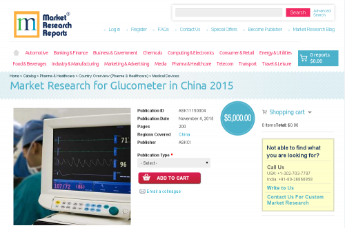 Market Research for Glucometer in China 2015'