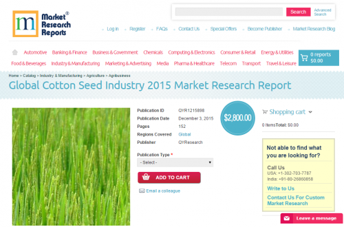 Global Cotton Seed Industry 2015'