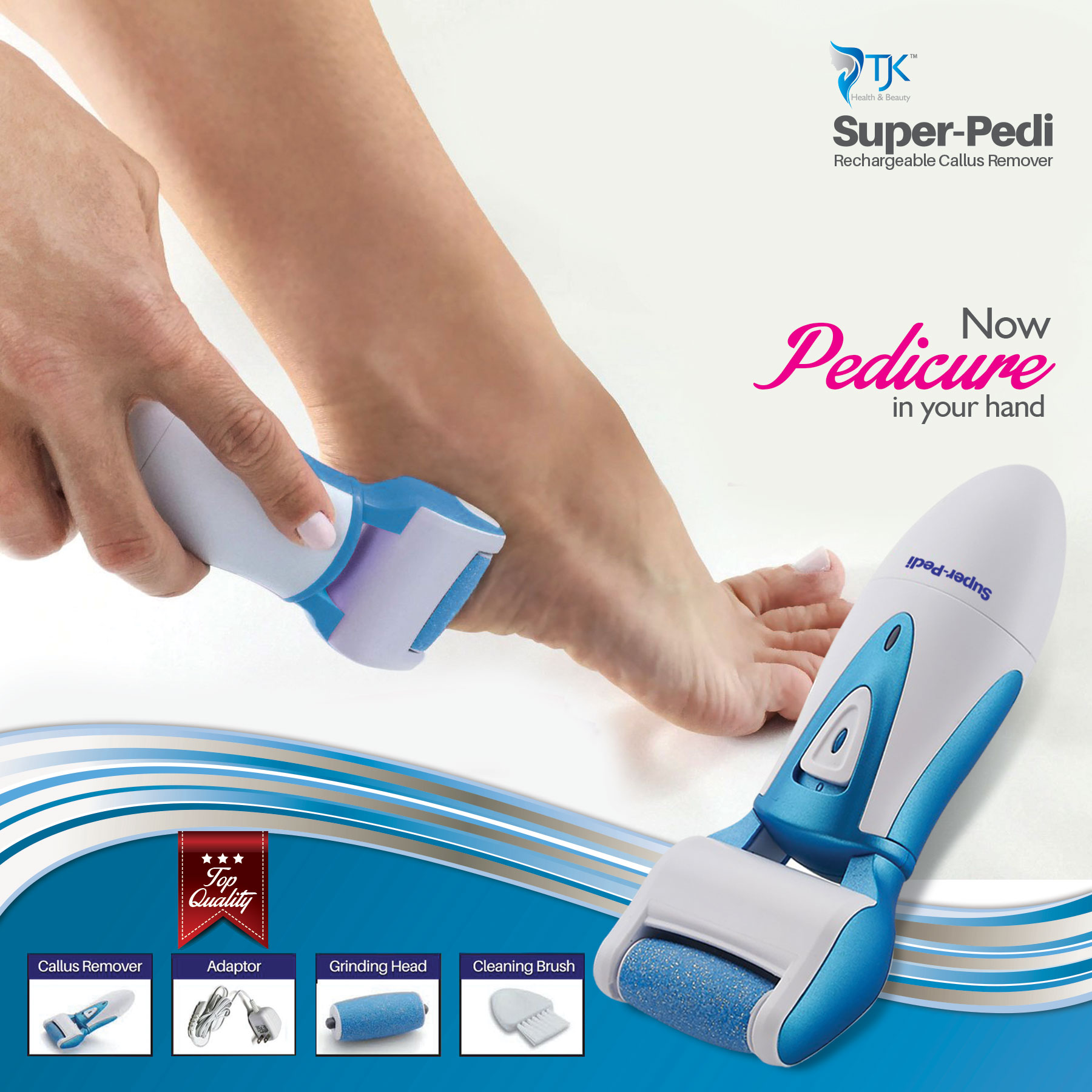 TJK Health and Beauty Super-Pedi Rechargeable Callus Remover