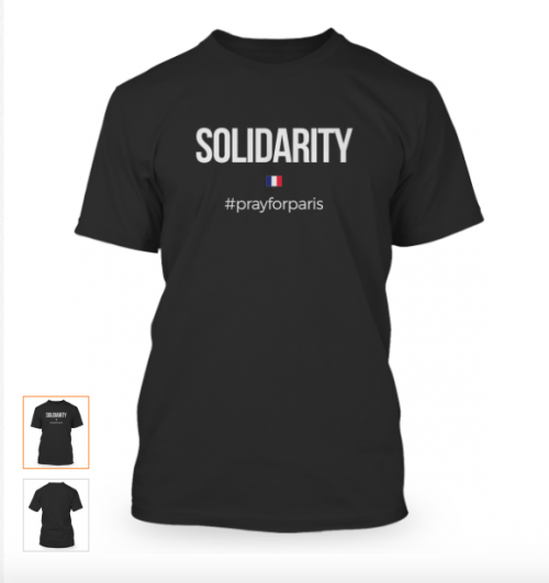 Solidarity #prayforparis T-Shirt Campaign'