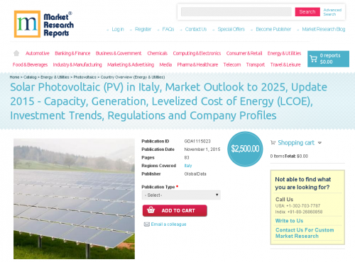 Solar Photovoltaic (PV) in Italy, Market Outlook to 2025'
