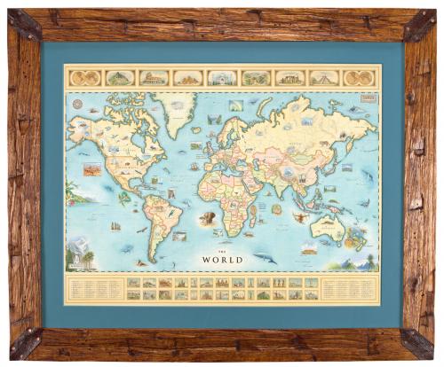 World Map Framed'