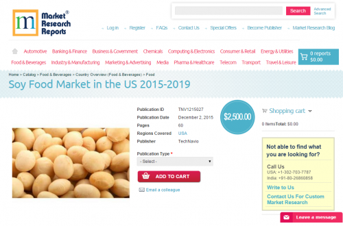 Soy Food Market in the US 2015 - 2019'