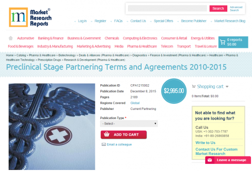 Preclinical Stage Partnering Terms and Agreements 2015'