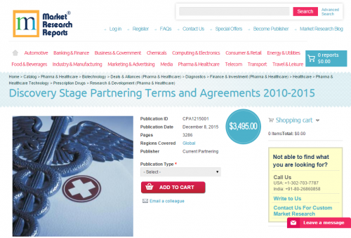 Discovery Stage Partnering Terms and Agreements 2010 - 2015'