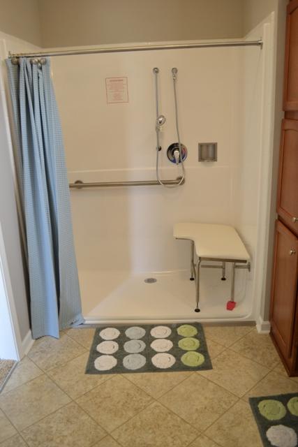 Homes by Vanderbuilt's Grand Vista barrier free shower'