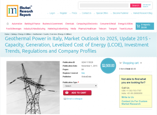 Geothermal Power in Italy, Market Outlook to 2025'