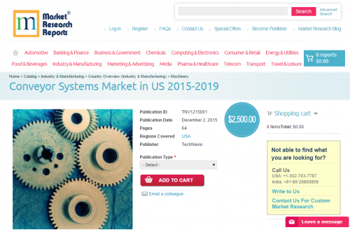 Conveyor Systems Market in US 2015-2019'