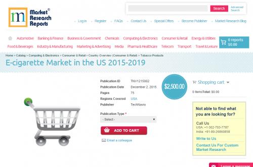 E-cigarette Market in the US 2015-2019'