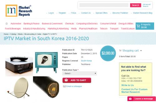 IPTV Market in South Korea 2016-2020'