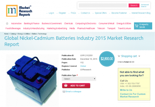 Global Nickel-Cadmium Batteries Industry 2015'