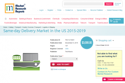 Same-day Delivery Market in the US 2015 - 2019'