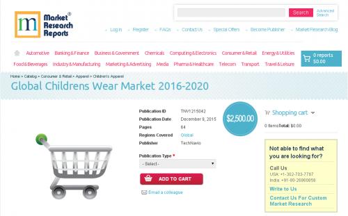 Global Childrens Wear Market 2016 - 2020'