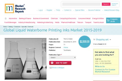 Global Liquid Waterborne Printing Inks Market 2015 - 2019'