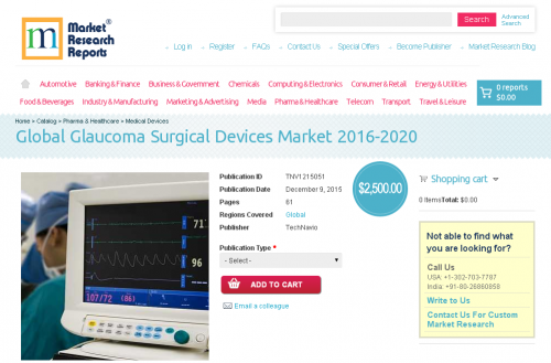 Global Glaucoma Surgical Devices Market 2016 - 2020'