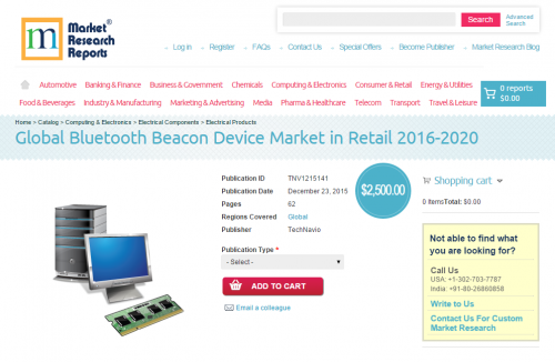 Global Bluetooth Beacon Device Market in Retail 2016 - 2020'