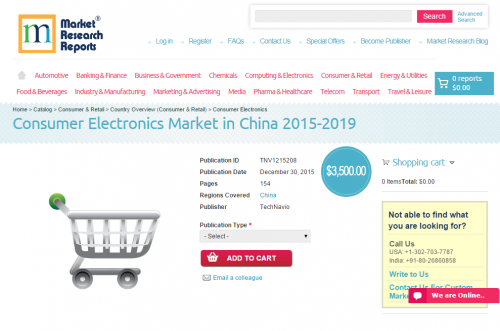 Consumer Electronics Market in China 2015 - 2019'