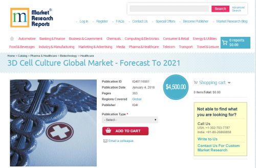 3D Cell Culture Global Market - Forecast To 2021'
