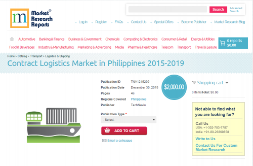 Contract Logistics Market in Philippines 2015 - 2019'