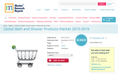 Global Bath and Shower Products Market 2015 - 2019'