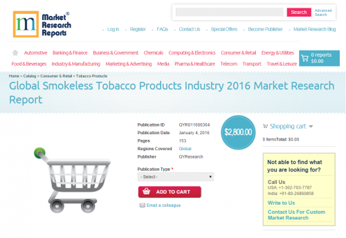 Global Smokeless Tobacco Products Industry 2016'