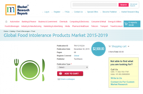 Global Food Intolerance Products Market 2015 - 2019'