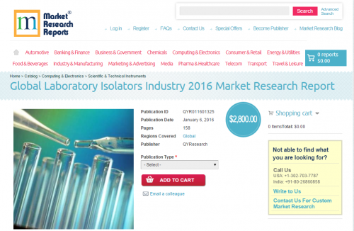 Global Laboratory Isolators Industry 2016'