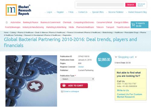 Global Bacterial Partnering 2010-2016'
