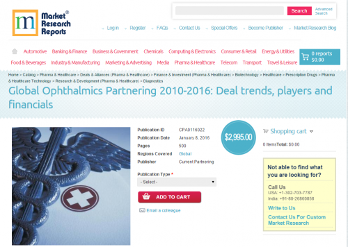 Global Ophthalmics Partnering 2010-2016'