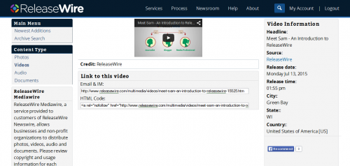 ReleaseWire MediaWire - Videos